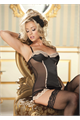 Stretch Satin And Scallop Lace Corset Rumba L